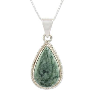 Jade pendant necklace, 'Green Sacred Quetzal' - Unique Sterling Silver Pendant Jade Necklace