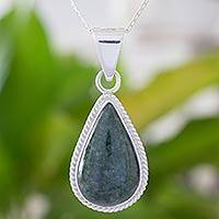Jade pendant necklace, 'Dark Green Sacred Quetzal'
