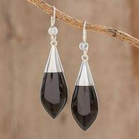 Jade dangle earrings, 'Maya Lance of Night' - Modern Sterling Silver Jade Dangle Earrings