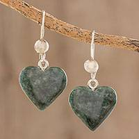 Jade heart earrings, 'Love Immemorial' - Sterling Silver and Jade Heart shaped Dangle Earrings
