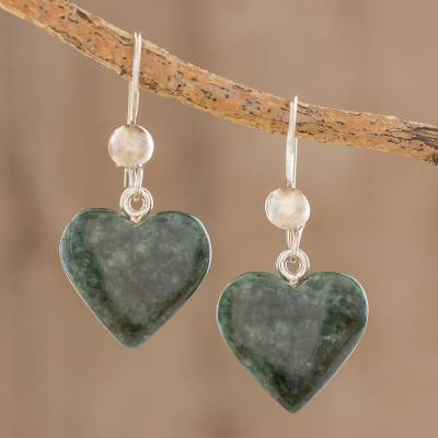 Jade heart earrings, 'Love Immemorial' - Heart Shaped Jade Dangle Earrings from Central America