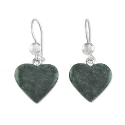 Heart Shaped Jade Dangle Earrings from Central America