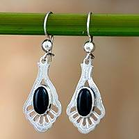 Jade dangle earrings, 'Black Peacock' - Unique Jade Dangle Earrings with Sterling Silver