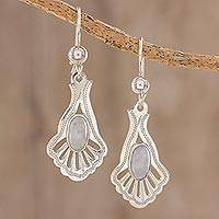 Jade dangle earrings, 'Lilac Peacock' - Artisan Crafted Sterling Silver Jade Dangle Earrings