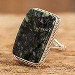 Collectible Modern Jade Sterling Silver Cocktail Ring, 'Maya Princess'
