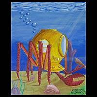 'Diver Crab MK II' - Original Surrealist Painting El Salvador Art