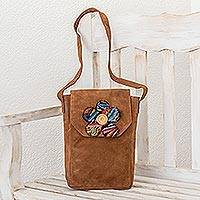 Leather shoulder bag, 'Brown Maya Flower' - Brown Leather Shoulder Bag with Flower Applique
