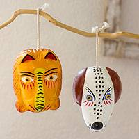 Cedar wood ornaments, 'Lion and Dog Dance Masks' (pair) - Guatemala Handmade Christmas Wood Ornament (Pair)