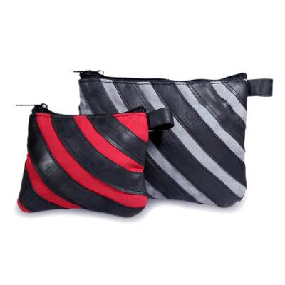 Cotton and recycled bicycle tire cosmetic bags (Pair)
