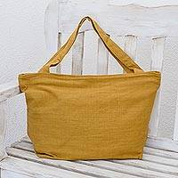 Cotton tote handbag, 'Guatemala Warmth' - Guatemalan Mustard Yellow Handwoven Cotton Tote Handbag