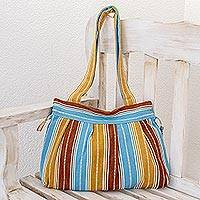 Cotton shoulder bag, 'Chajul' - Hand Crafted Striped Cotton Shoulder Bag