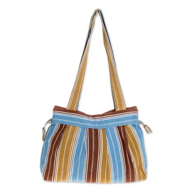 Novica Cotton shoulder bag, Cheerful Stripes