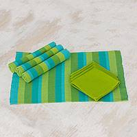 Cotton placemats and napkins, 'Casaca Morn' (set for 4) - Modern Cotton Placemat and Napkin Set of 4