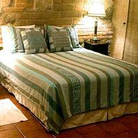 Cotton duvet cover, 'Cloud Forest' - Guatemalan Handwoven Cotton Duvet Cover