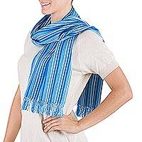Cotton scarf, 'Highland Sky' - Cotton scarf