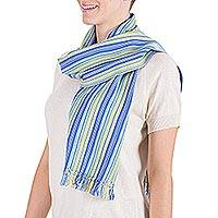 Cotton scarf, 'Zunil Sun' - Fair Trade Handwoven Cotton Scarf