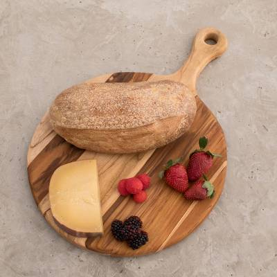 Teak wood pizza board, 'Chef's Delight' - Wood Cutting Board Kitchen Accessory