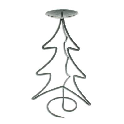 Iron candleholder, 'Light of Christmas' - Fair Trade Christmas Tree Iron Candleholder