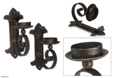 Iron wall candleholders, 'Light of Antigua Guatemala' (pair) - Hand Crafted Iron Wall Sconce Candle Holders (Pair)