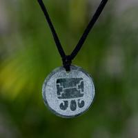 Jade pendant necklace, 'Tijax, Maya Warrior'
