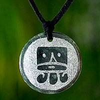 Jade pendant necklace, 'Ajpu, Maya Life Force' - Handmade Jade Pendant Necklace