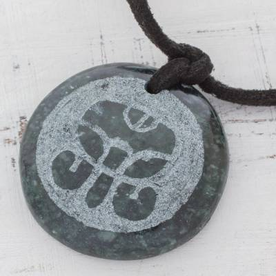 Jade pendant necklace, 'K'at Maya Net' - Jade pendant necklace