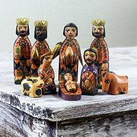Pinewood Nativity Scene, 'Devotion' (set of 10) - Handcrafted Guatemalan Wooden Nativity Scene