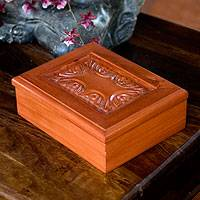 Wood tea box, 'Angelic Blooms' - Wood tea box