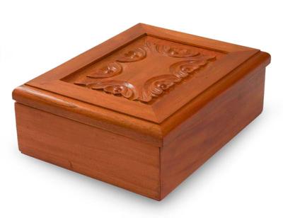Wood tea box, 'Angelic Blooms' - Wood tea box