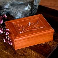 Wood tea box, 'Calla Lilies' - Hand Carved Floral Wood Art Decorative Box