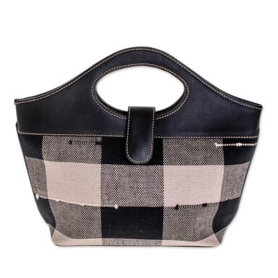 Cotton and leather handbag
