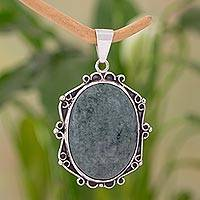 Jade pendant, 'Green Quetzal' - Sterling Silver Double-Sided Jade Pendant