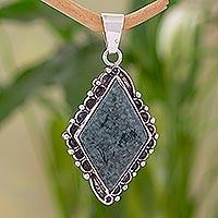 Jade pendant, 'Quetzal Diamond' - Jade pendant
