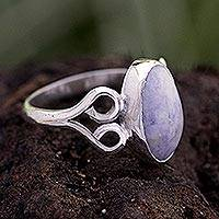 Jade cocktail ring, 'Two Hearts in Lilac' - Lilac Jade and Silver Ring