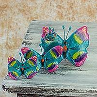 Ceramic sculptures, 'Solola Butterflies' (set of 3) - Set of 3 Fair Trade Ceramic Butterfly Sculptures