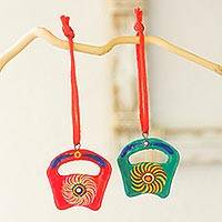 Ceramic ornaments, 'Pinwheel Pinatas' (set of 6) - Fair Trade Ceramic Art Christmas Ornaments (Set of 6)