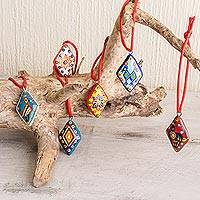 Ceramic ornaments, 'Festive Guatemala' (set of 6)