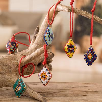 Ceramic ornaments, 'Festive Guatemala' (set of 6) - Handmade Ceramic  Christmas - Handmade Ceramic Christmas Ornaments (Set Of 6) - Festive Guatemala