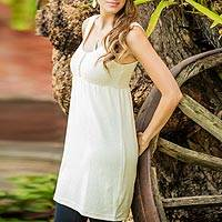 Cotton tunic, 'Guatemala Summer' - Hand Crafted Ivory Cotton Knit Tunic Top