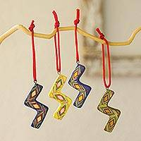 Ceramic ornaments, 'Joyful Serpentines' (set of 6) - Ceramic ornaments (Set of 6)