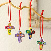 Ceramic ornaments, 'Cheerful Crosses' (set of 6)