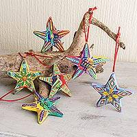 Ceramic ornaments, 'Holiday Stars' (set of 6)