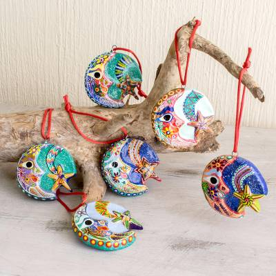 Ceramic ornaments, Festive Night (set of 6)