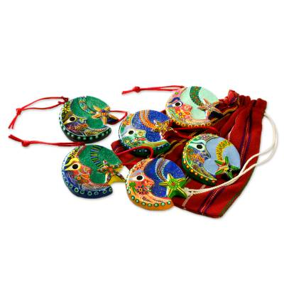 Ceramic ornaments, 'Festive Night' (set of 6) - Ceramic ornaments (Set of 6)