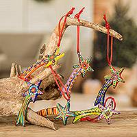 Ceramic ornaments, 'Shooting Stars' (set of 6)