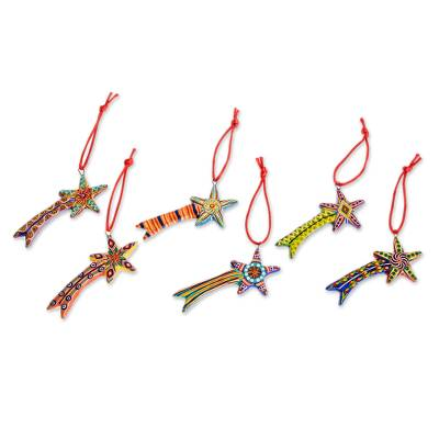 Ceramic ornaments, 'Shooting Stars' (set of 6) - Ceramic ornaments (Set of 6)