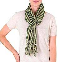 Cotton scarf, 'Solola Fields' - Hand Crafted Cotton Scarf from Central America