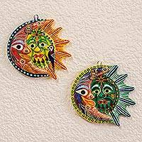 Ceramic wall adornments, 'Romantic Eclipse' (pair) - Pair of Hand Painted Eclipse Wall Sculptures