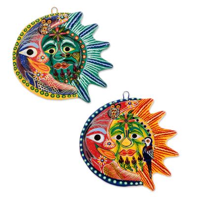 Ceramic wall adornments, 'Romantic Eclipse' (pair) - Sun and Moon Ceramic Wall Art (Pair)