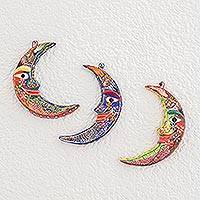 Ceramic wall adornments, 'Crescent Moon Magic' (set of 3)